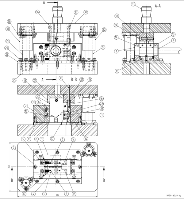 Штамп для резки труб чертеж общий вид