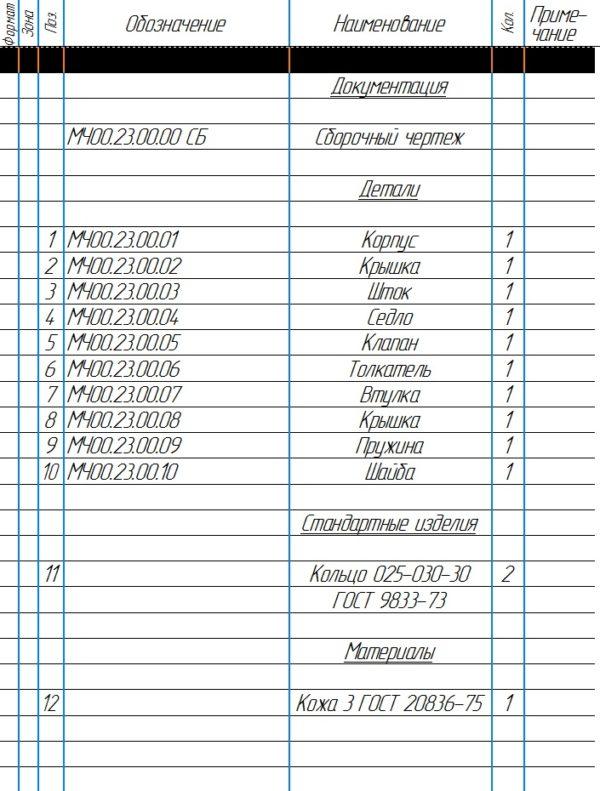 МЧ00.23.00.00 Клапан механический спецификация