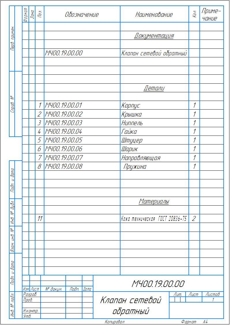 МЧ00.19.00.00 - Клапан сетевой обратный спецификация