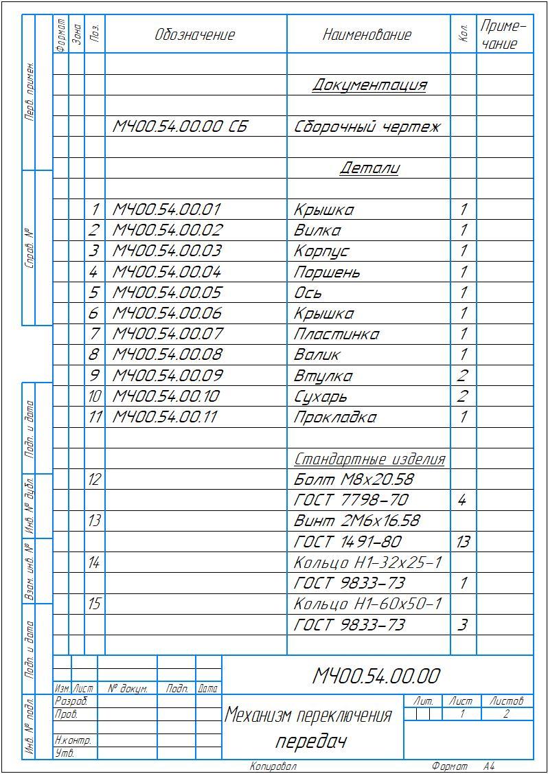 МЧ00.54.00.00 СП - Механизм переключения передач спецификация