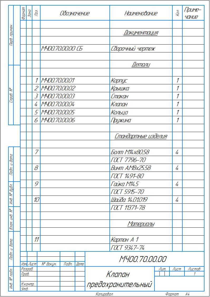 МЧ00.70.00.00 СБ Клапан предохранительный общий чертеж
